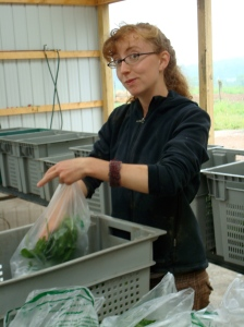 Jeanette lovingly bagging your spinach.